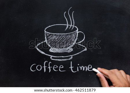 hand drawing of coffee time on the blackboard