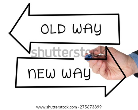 Hand drawing Old Way or New Way concept with marker on visual screen. Isolated on white. Stock Image - stock photo