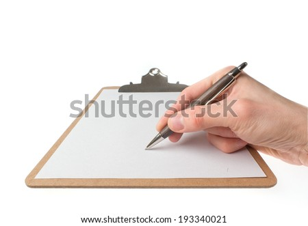 Hand drawing on an empty paper in sketch pad (clipboard) isolated on white