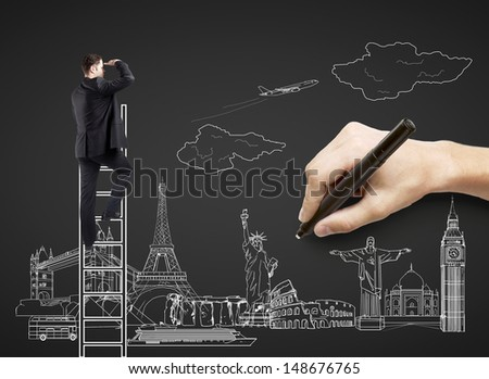 hand drawing on black paper  businessman on ladder, traveling concept