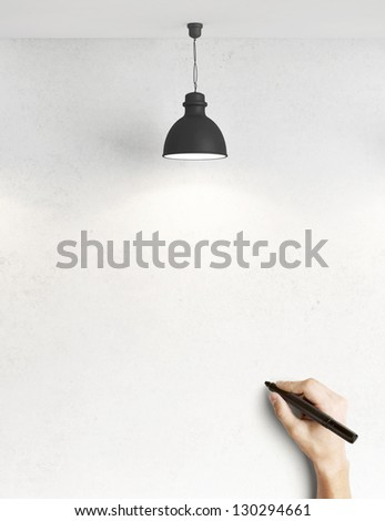 hand drawing on concrete wall - stock photo
