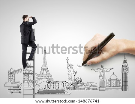 hand drawing on white paper  businessman, traveling concept