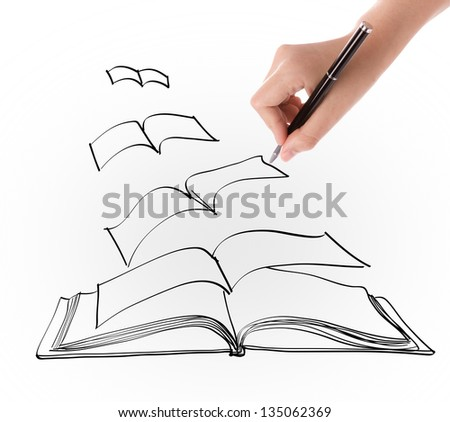 Hand drawing open flying book - stock photo