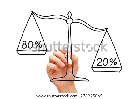 Hand drawing Pareto Principle scale concept with black marker on transparent wipe board isolated on white.  - stock photo