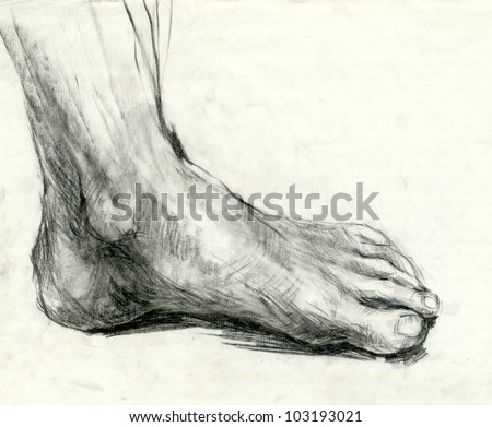 Hand drawing picture : FOOT - SOLE. Mixed media : pencil and charcoal. - stock photo
