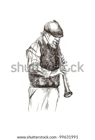 hand drawing picture - jazz player with the clarinet - stock photo