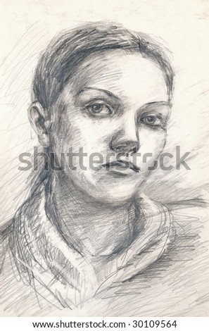 hand drawing picture of unknown girl-s face
