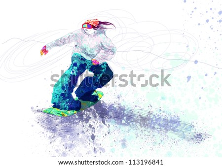hand drawing picture, sports theme : snowboarder - this is original sketch (hundreds of colors in the image)