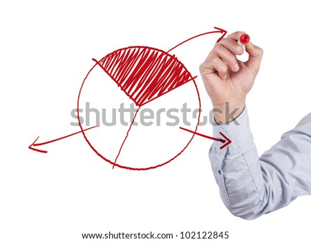 Hand drawing pie chart on whiteboard - stock photo