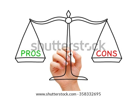 Hand drawing Pros and Cons balance scale concept with marker on transparent wipe board isolated on white.  - stock photo