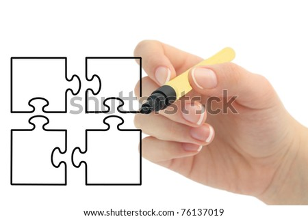 hand drawing puzzle - stock photo