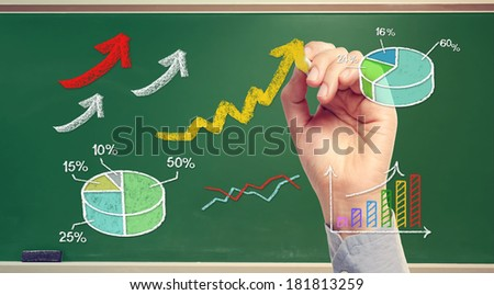 Hand drawing rising arrows and graphs on green chalk board - stock photo