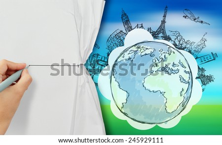 hand drawing rope to open crumpled paper to show travel around the world  against blue and green nature background - stock photo