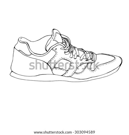 Hand drawing running sport shoe symbol, icon. Sketch fitness sneakers. Blank sneaker template. Original design.  sneaker isolated on white background - stock photo