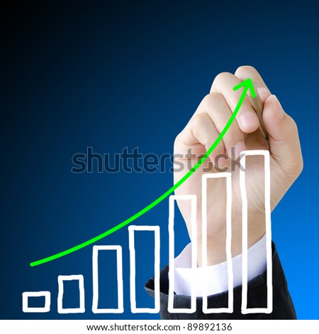 hand drawing showing graph. - stock photo