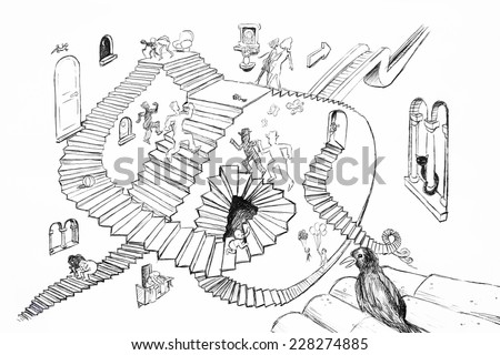 hand drawing sketch of  Esher style stairs - stock photo