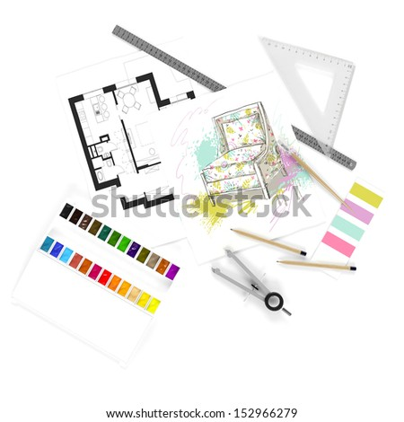 Hand drawing sketch of living room - stock photo