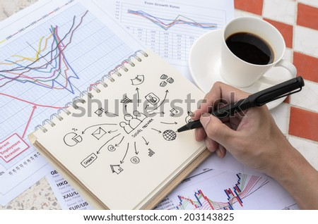 Hand Drawing Social Idea Sketch with Coffee - stock photo