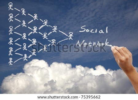 Hand drawing social network concept on the sky background by chalk - stock photo
