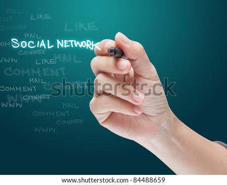 Hand drawing social network structure in a whiteboard - stock photo