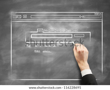 hand drawing structure internet page - stock photo