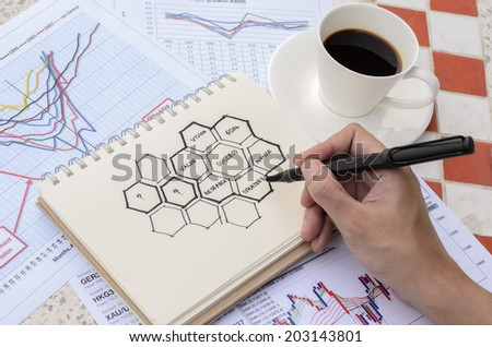 Hand Drawing Success Idea Sketch with Coffee - stock photo
