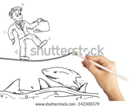 Hand drawing the solution for business problems - stock photo