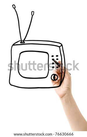 hand drawing tv set in the glass isolated on white - stock photo
