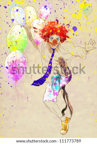 hand drawing using digital tablet (this is drawing added to the old brown paper) - happy clown - stock photo