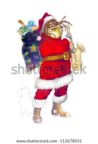 hand drawing using digital tablet (this is the original colored drawing / sketch) - - - - colored sketch bearded Santa Claus playing the saxophone (unconventional character with white dog at his feet) - stock photo