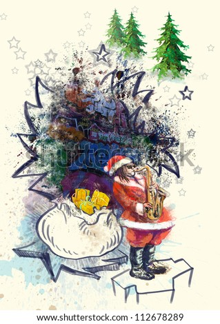 hand drawing using digital tablet (this is the original colored drawing / sketch) - - colored sketch Santa Claus playing the saxophone (unconventional character) - stock photo