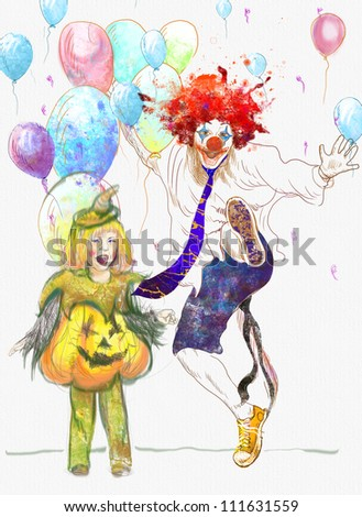 hand drawing using digital tablet (this is the original drawing) - happy girl and lucky clown - stock photo