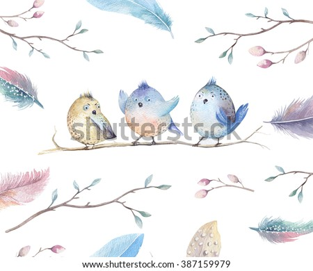 Hand drawing watercolor flying cartoon bird with leaves, branches and feathers.Watercolour art illustration in vintage boho style. - stock photo