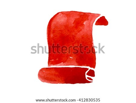 Hand drawing watercolor red tapes for sign on white background