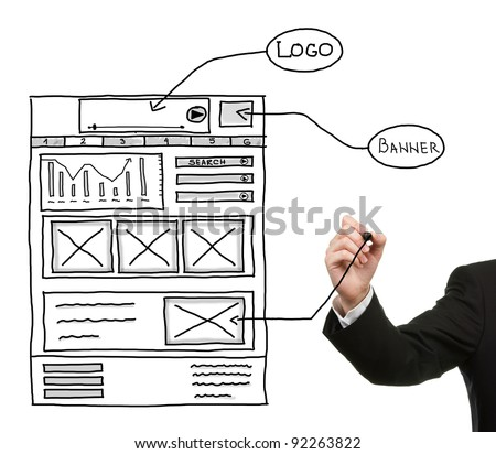 Hand drawing web design sketch - stock photo