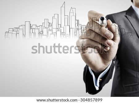 Hand drawing with marker sketches of construction project - stock photo