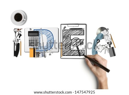 hand drawing word idea built of business subjects - stock photo