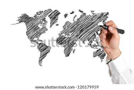 hand drawing world map on white background - stock photo