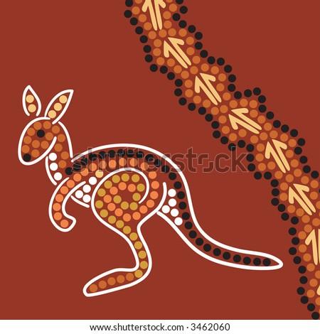 Hand drawn Aboriginal abstract depicting a kangaroo and kangaroo tracks - stock photo