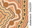 Hand drawn Aboriginal abstract depicting flowing water, kangaroo tracks and waterholes - stock photo