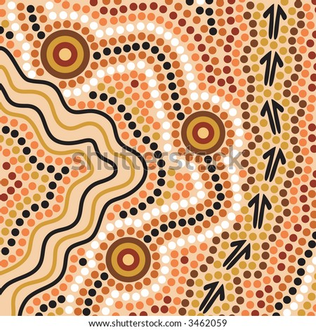 Hand drawn Aboriginal abstract depicting flowing water, kangaroo tracks and waterholes