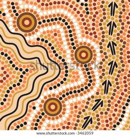 Hand drawn Aboriginal abstract depicting flowing water, kangaroo tracks and waterholes - stock photo