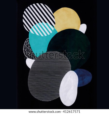 Hand drawn abstract composition of a modern art style. Raster illustration with minimalist style. - stock photo