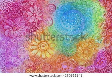 Hand drawn abstract pattern background - stock photo