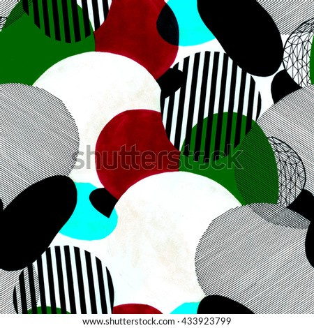 Hand drawn abstract seamless pattern of a modern art style. Raster illustration with minimalist style.