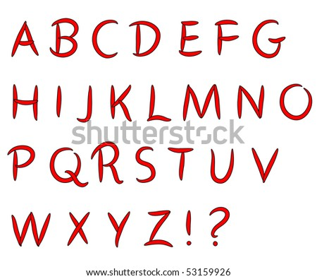 Hand drawn alphabet - stock photo