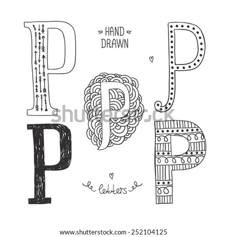Hand drawn alphabet, letter p. Doodle letters set isolated on white background - stock photo