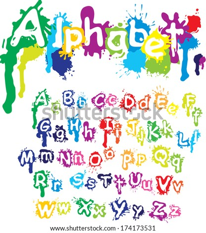 Hand drawn alphabet - letters are made of  water colors, ink splatter, paint splash font.  - stock photo