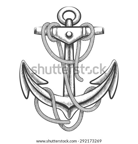 Hand drawn anchor with rope. Engraving style. Isolated on white background.  - stock photo