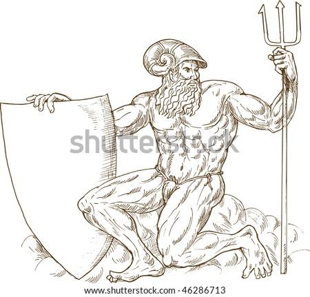 how to draw poseidon greek god of the sea